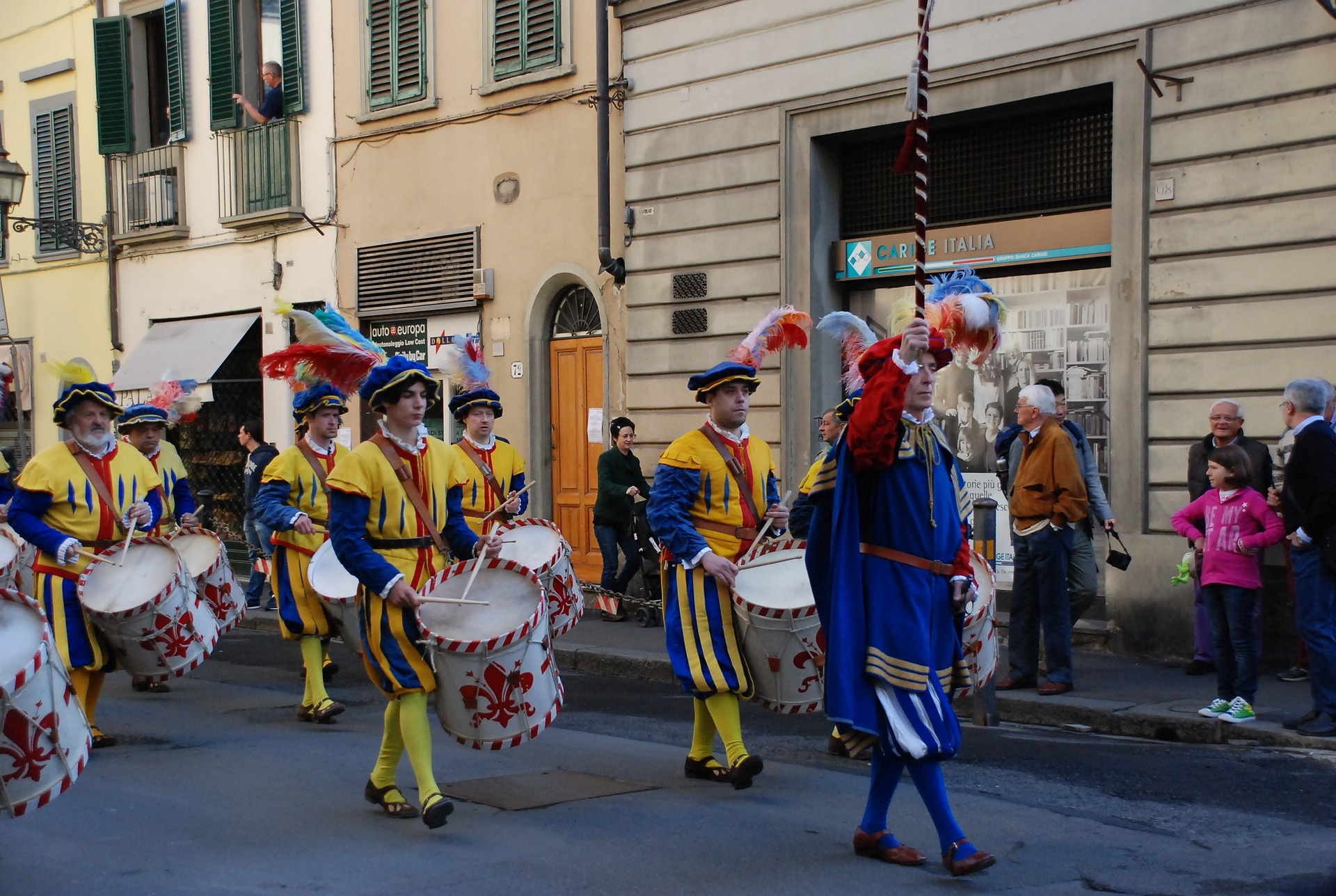 italian masks in easter event in tuscany