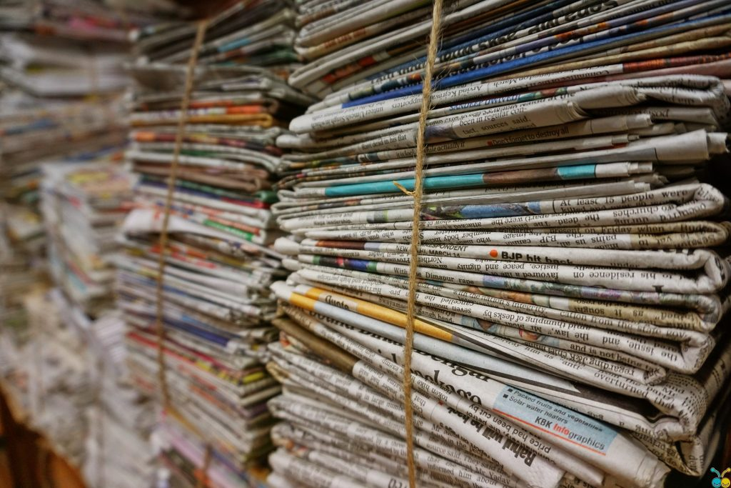 set of newspaper bundle in recycling plant